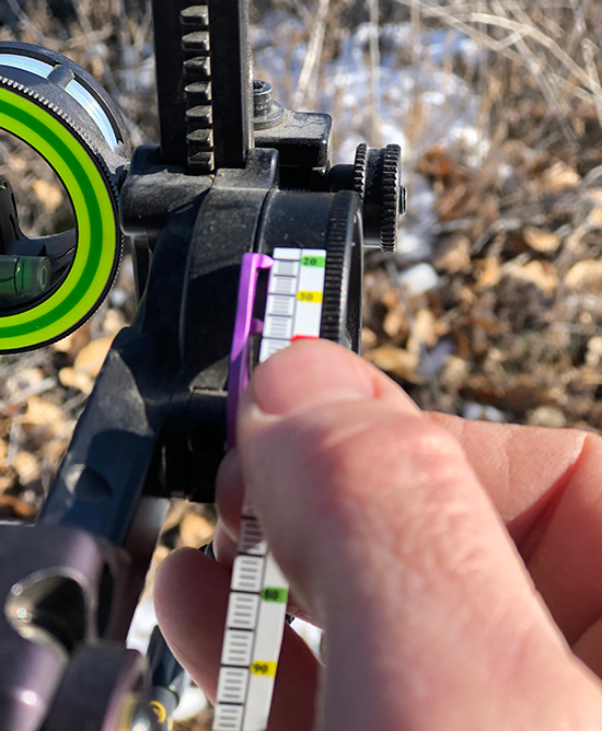 single-pin sight with yardage tape