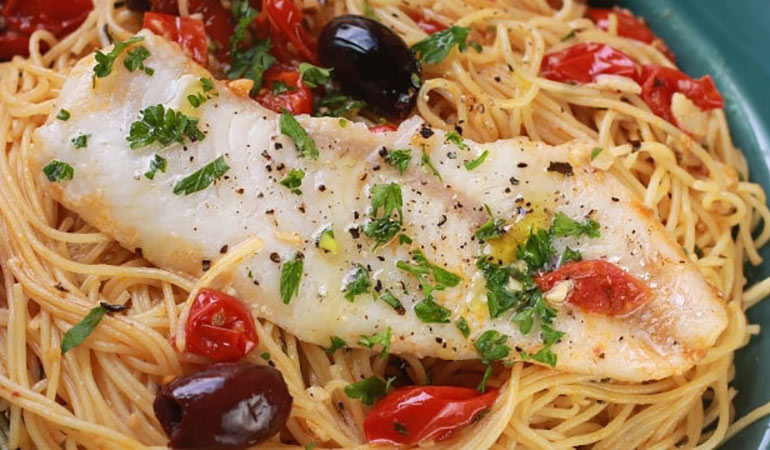 Walleye over Tomato-Olive Angel Hair Pasta