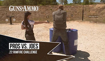 "In this ""Pros vs. Joes"" segment, the ""Joe"" is Guns & Ammo TV's Darin Narlock who has to face an actual world champion: 16-time Gold Medalist and Taurus Pro-Shooter Jessie Harrison. Together they compete in a .22LR shootout using the Taurus TX22 and a Rossi RS22 semiauto rifle in a steel challenge featuring Revolution Targets Portable Plate Racks and Portable Plates."