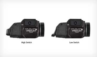 The Streamlight TLR-7 A, a rail-mounted light (primarily for handguns) comes with a high switch on the light and includes a low switch that makes it more comfortable on different size handguns or for users with longer/shorter finger reach to activate. The lightweight and compact new light delivers 500 lumens for a variety of tactical uses.