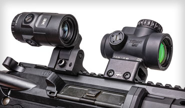 I'll argue that the most advanced red dot and magnifier combination currently available is this: the new Trijicon MRO HD with 3X magnifier. For my supporting evidence, I'd like to draw your attention to its objective lens, manufacturing technique, optic housing material, additional length (versus the original MRO), and reticle.