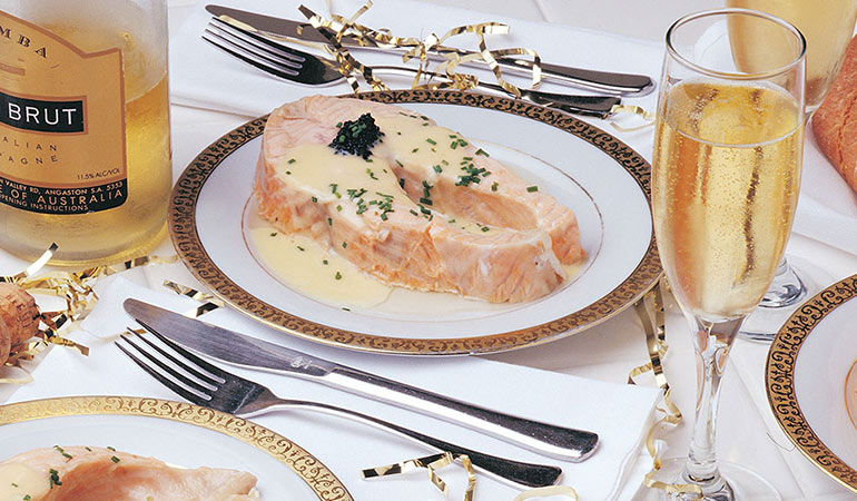Steamed Salmon Steaks With Chardonnay Butter Sauce Recipe