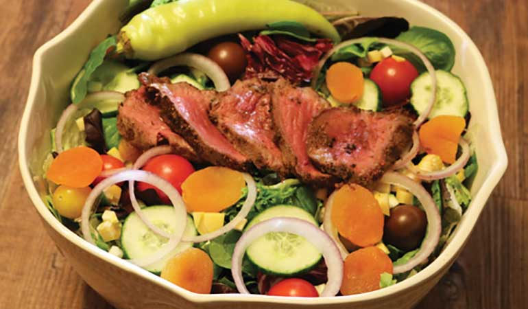 Venison Gorgonzola Salad with Fried Eggplant Croutons Recipe