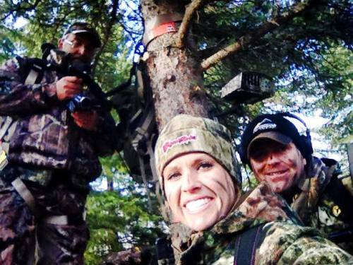 Nicole takes a selfie of the Live Hunt crew; Steve Bowman and Pat videoing for her hunt. (Nicole Reeves photo)
