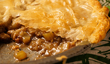 Instead of using traditional dough or pastry, this venison pot pie recipe calls for layered sheets of phyllo and butter. The result? A flaky, light crust that doesn't overwhelm the warm, flavorful filling.