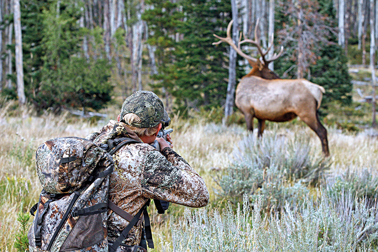 hunter shooting elk
