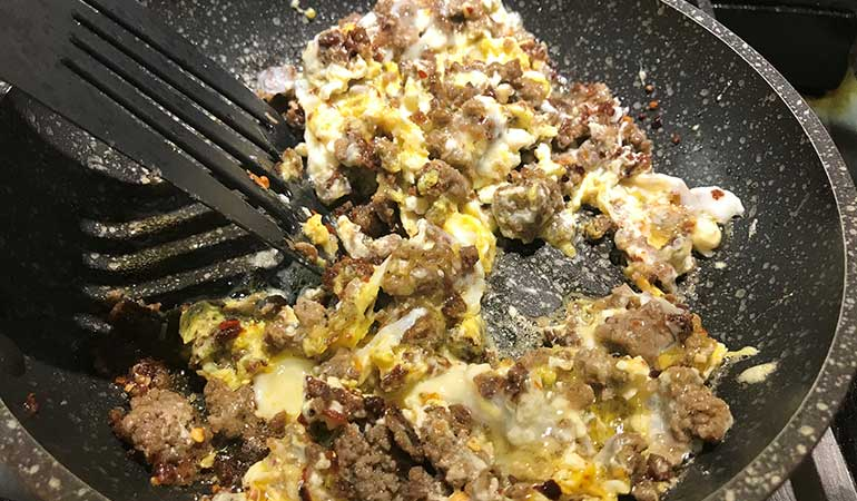 Spicy Venison Sausage Egg Scramble Recipe