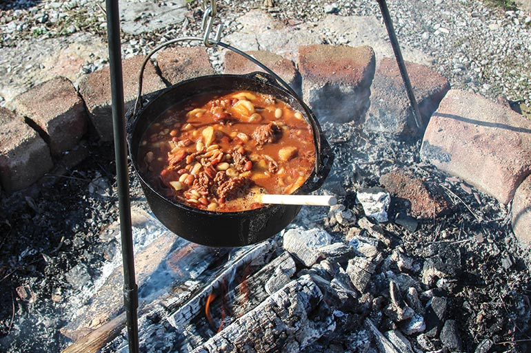 Dutch Oven Venison & Apple BBQ Camp Beans Recipe