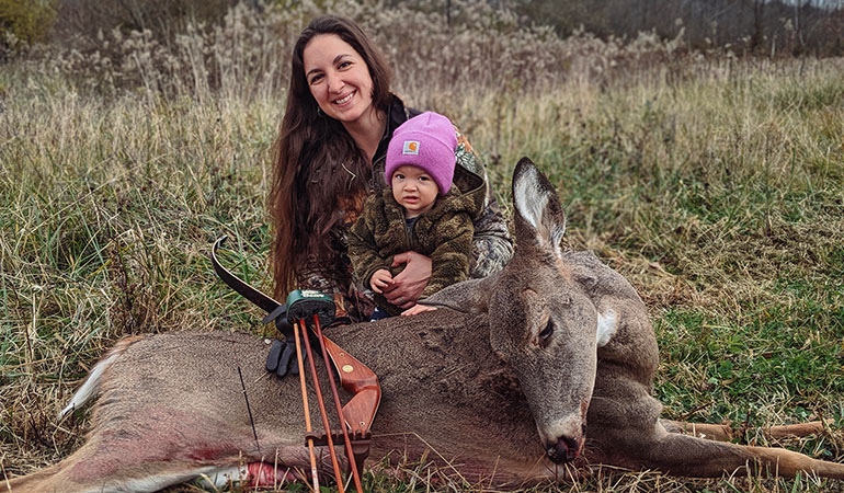 Young Mom Arrows Whitetail with Baby in Tow