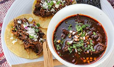 Wild turkey legs and thighs can be tough, so braising the meat, like in this birria (or Jalisco-style Mexican stew) recipe, is a great way to cook them.