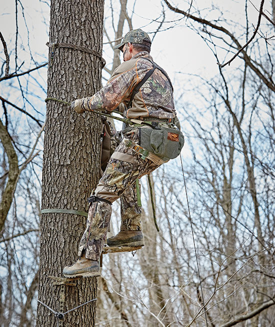 bowhunter climbing tree with saddle
