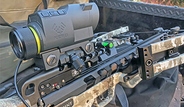 The Xero X1i crossbow scope is an advanced optic that provides nearly instant range readings, calibrates dead-on aiming points out to 80 yards and offers visual indicators to help boost accuracy.