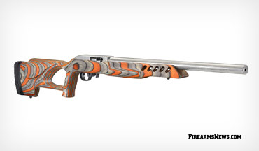 This new Ruger 10/22 Target rifle features an attractive orange and black laminate thumbhole stock with an adjustable length pull as well as a sleek, stainless steel barrel and action.