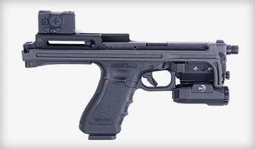 The USW-G17 is a carbine chassis for the Glock 17, which permits use of a reflex sight, shoulder stock and forward Picatinny rail.