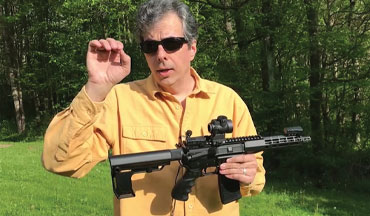 Vincent DeNiro, editor of Firearms News, does some shooting with the Aero Precision Atlas S-One 7.5-Inch AR pistol upper in 5.56.