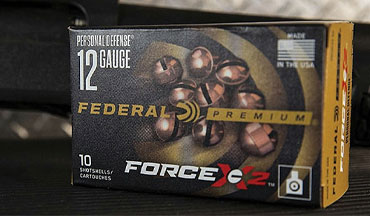 Federal Premium's new Personal Defense Force X2 copper-plated 00 FX2 buckshot pellets are specially engineered to split into two equal-size pieces on impact to maximize terminal performance.