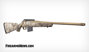 This Ruger American rifle features a Go Wild Camo I-M Brush stock, bronze Cerakote finish, a factory-installed muzzle brake and is chambered in the popular .350 Legend cartridge.