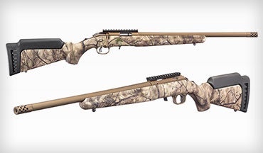 Sturm, Ruger & Company, Inc. introduced three models of the Ruger American Rimfire rifle with Go Wild Camo I-M Brush stock and bronze Cerakote finish.