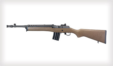 The new Ruger Mini-14 Tactical rifle has a speckled black and brown hardwood stock, which offers a distinct visual appeal compared with other Mini-14 rifles.