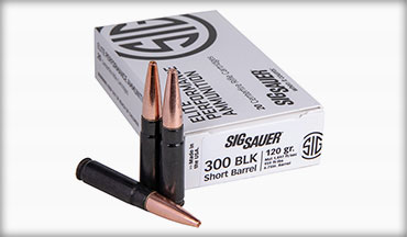 SIG SAUER, Inc. introduced its newest 300BLK ammunition ' the 120gr supersonic 300BLK SBR Elite Copper Duty load, specifically designed for short barrel rifles.