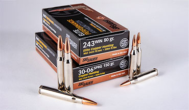 SIG SAUER adds .243 Win. and .30-06 Springfield loads to its premium-grade, Elite Hunting ammo line; these rounds feature an all-copper bullet that delivers deep penetration and consistent 1.8x diameter expansion.