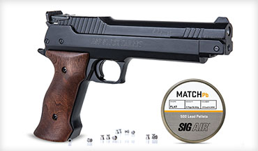 SIG Sauer announced the SIG SAUER Super Target .177 caliber, single-shot pneumatic air pistol is now available, along with a new line of pellets from SIG AIR.