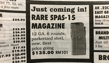 "Thumbing through SARCO's latest offerings, Editor Vincent DeNiro came across another ""Holy Grail"" find…SPAS-15 magazines."