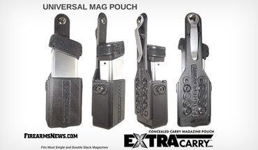 Firearms accessory supplier, ExtraCarry, released the ExtraCarry 2.0 Universal Mag Pouch, which is now available for most 9mm single or double stack magazines.