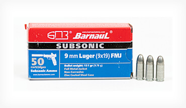 Barnaul now offers a subsonic cartridge in 9mm Luger ideally suited for use with suppressors or for shooters competing in Minor Power Factor divisions.