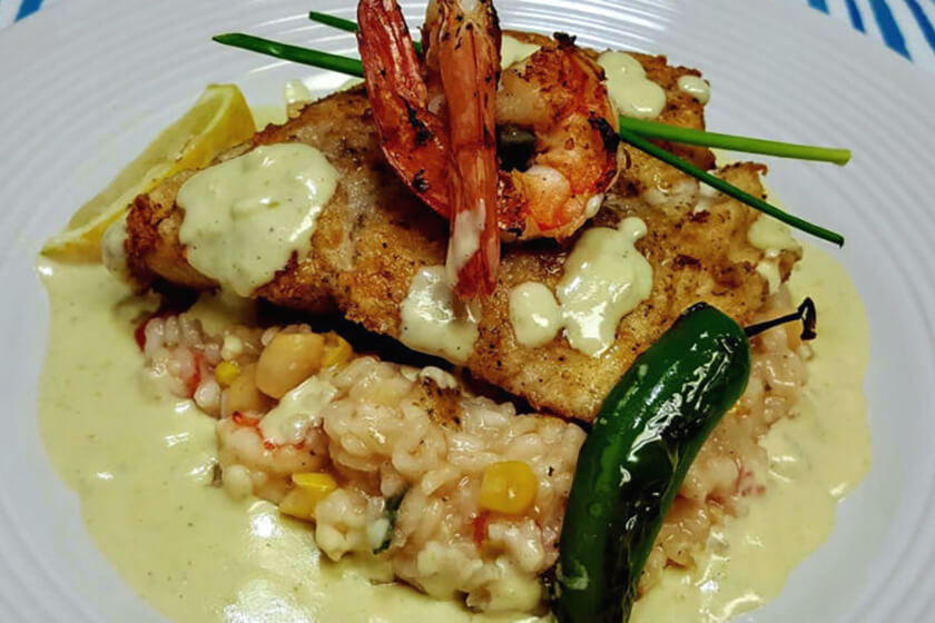 Pan-Seared Snook and Seafood Risotto