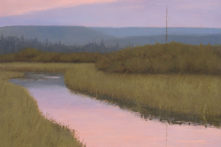 Moving Water features 20 of Dave's ethereal landscape paintings.