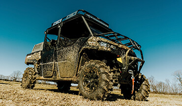 When the going gets sloppy, the Can-Am 2020 Defender Max X MR side-by-side will churn through the muck while keeping hunters comfy.