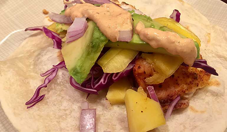 Adobo Chipotle Fish Tacos with Pineapple-Mango Salsa Recipe