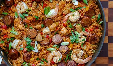 Lots of ingredients means lots of flavor in this Alligator and Shrimp Jambalaya Recipe!