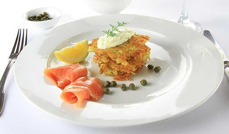 Atlantic Smoked Salmon with Scallion Potato Rosti Recipe