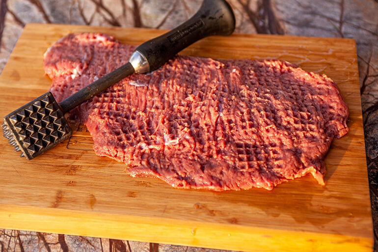 Tenderized bison flap meat