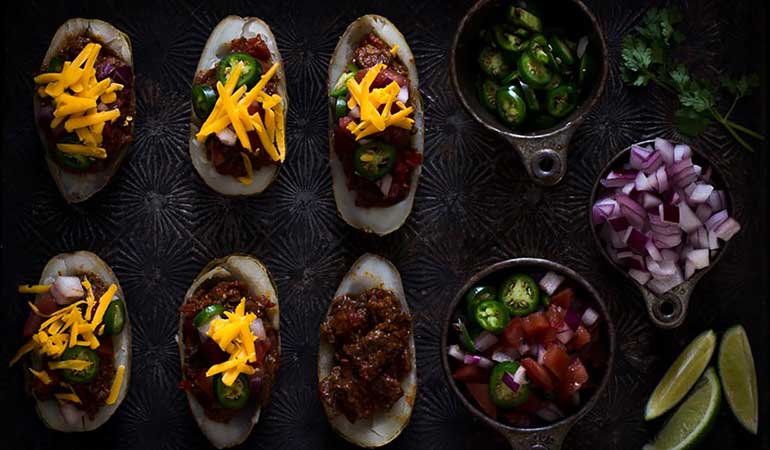 Elk Chili Potato Skins Recipe