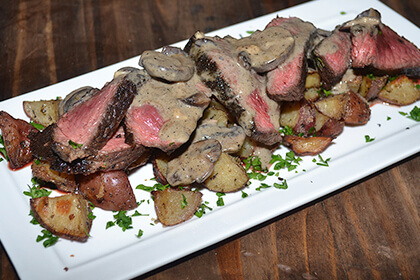 Serve these venison backstrap steaks with a side of roasted potatoes or another starch of your choice.