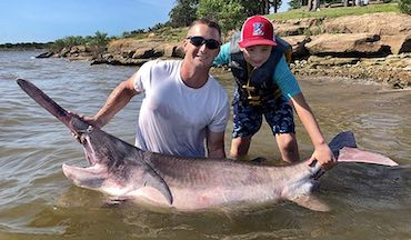 The new Oklahoma record measured 76 inches long and weighed 143 pounds.