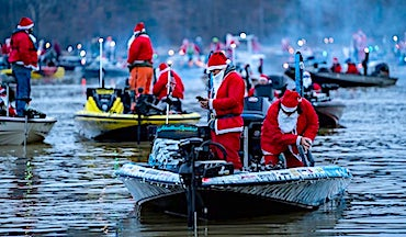Ugly Stik's Santa Claus Bass Tournament featured 298 Santa-suit-wearing anglers at Lake Norman, N.C.
