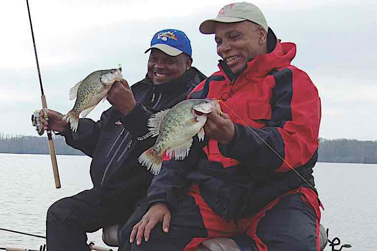 Noisy spoons, spinners and lipless cranks call in late-winter crappies in open water.