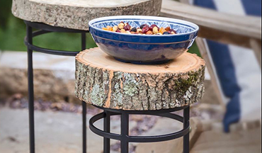 Learn how to use wood cookies cut from logs to make useful backyard side tables.