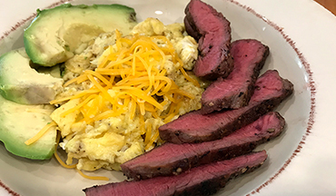 Though labeled for brunch, this low-carb (Keto or Paleo) venison recipe is great for a quick meal any time of day.