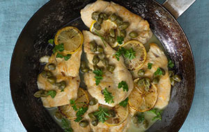Make this piccata recipe by sautéing pheasant breasts with lemon zest, capers and white wine.