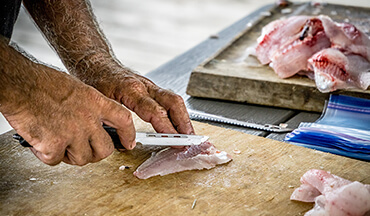 Start with evenly cut pieces of crappie fillets for this recipe.