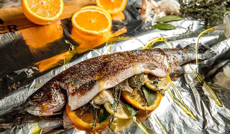 Roasted Citrus-Stuffed Trout with Brown Butter Recipe