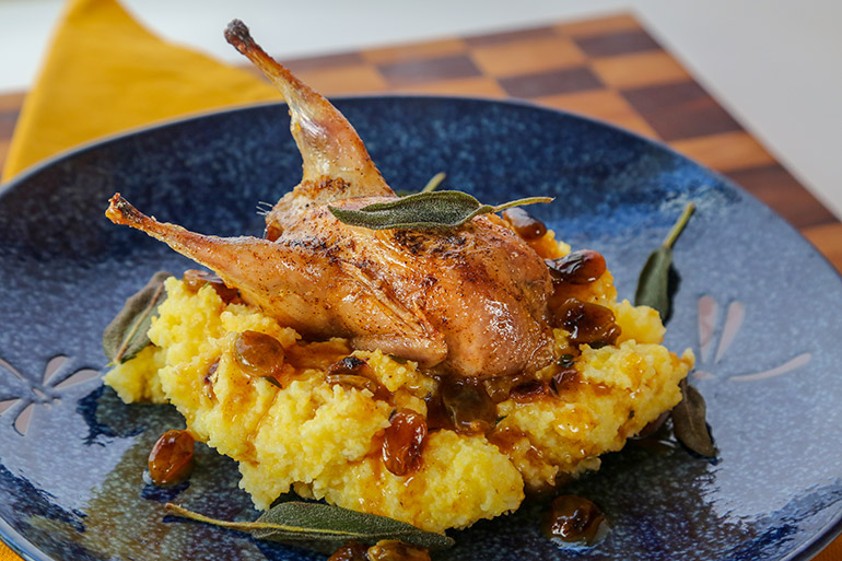 Roasted Quail with Sage and Golden Raisins Recipe