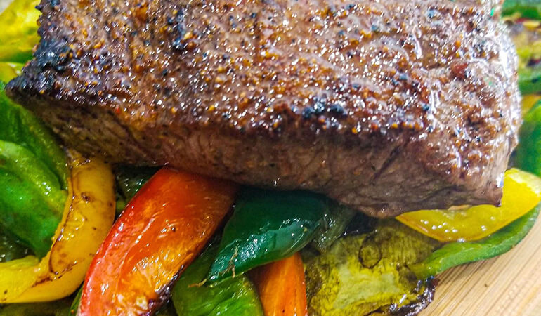 Simple Elk Venison Backstrap Recipe with Nopales and Peppers