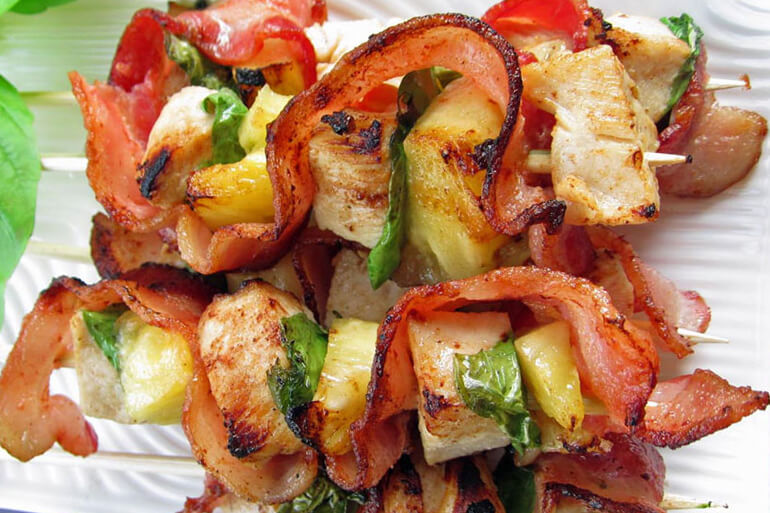 Wild Turkey, Bacon and Pineapple Skewers Recipe