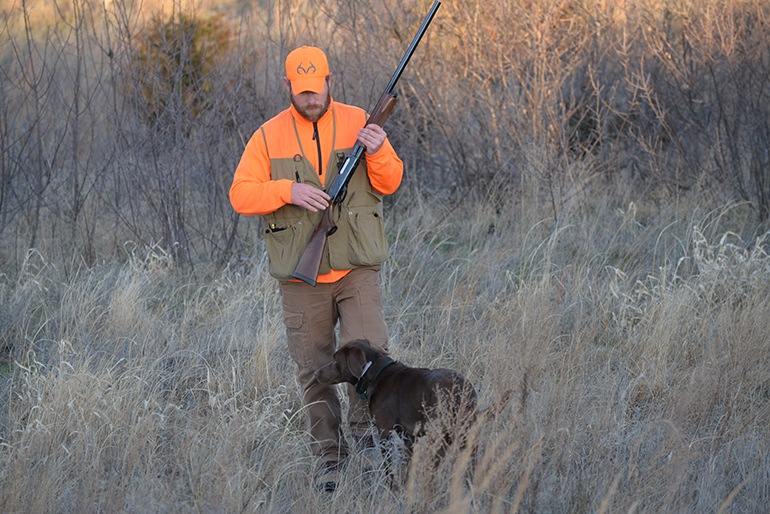 bird hunter with lab in field